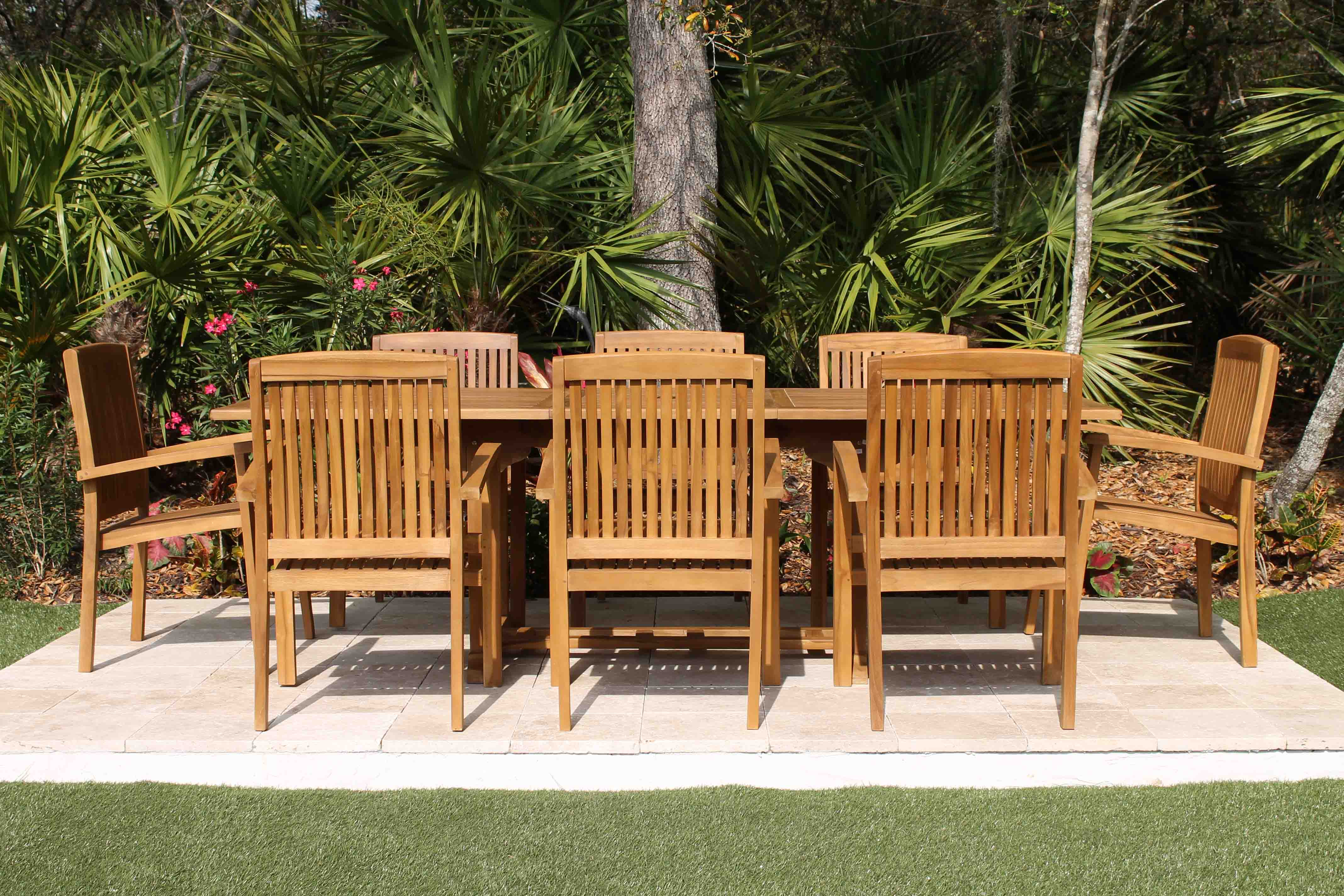 SALE 95in Rectangular Table & 8 Pacific Chairs Teak Set