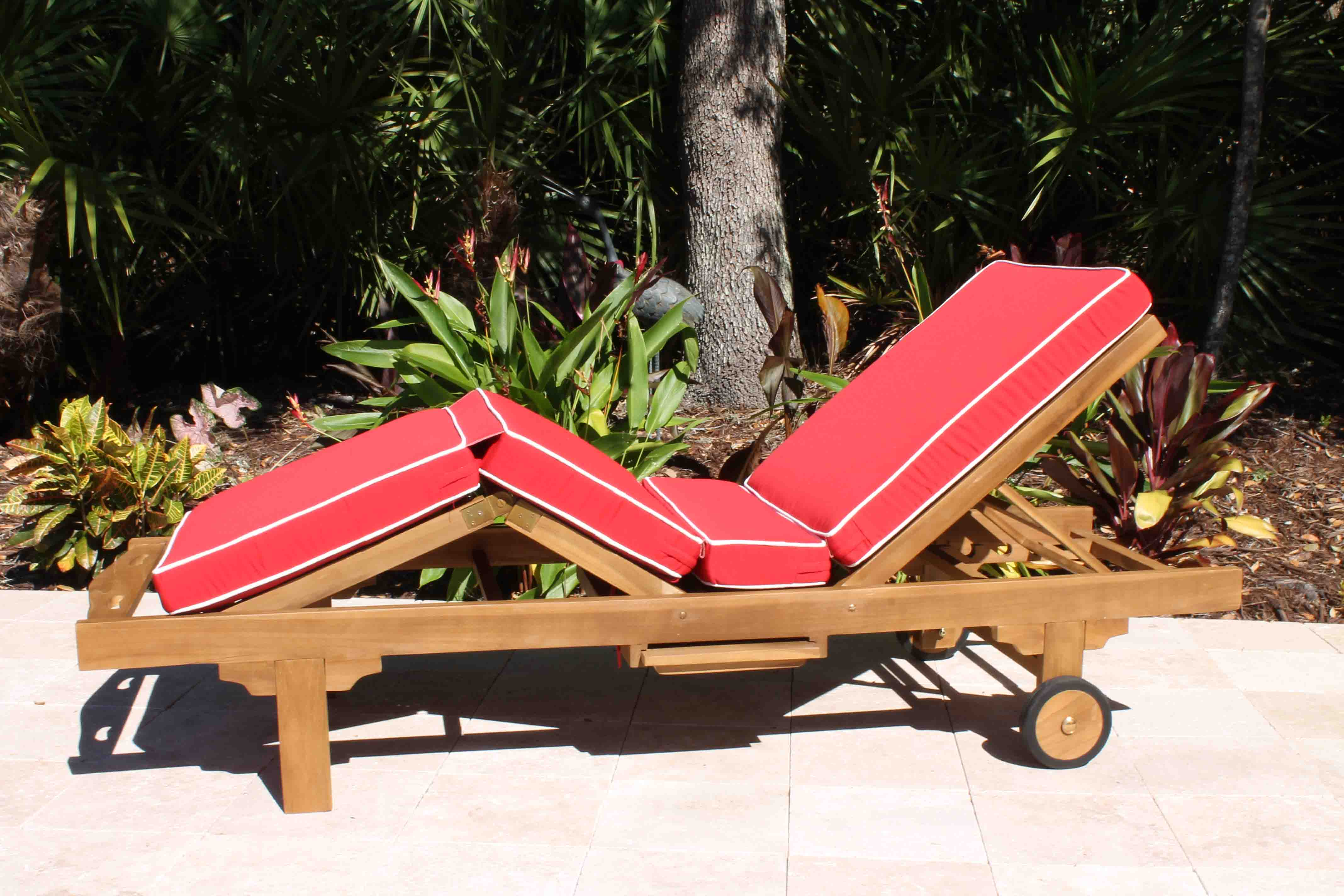 Deluxe Chaise Sunbrella Cushion Jockey Red White Piping