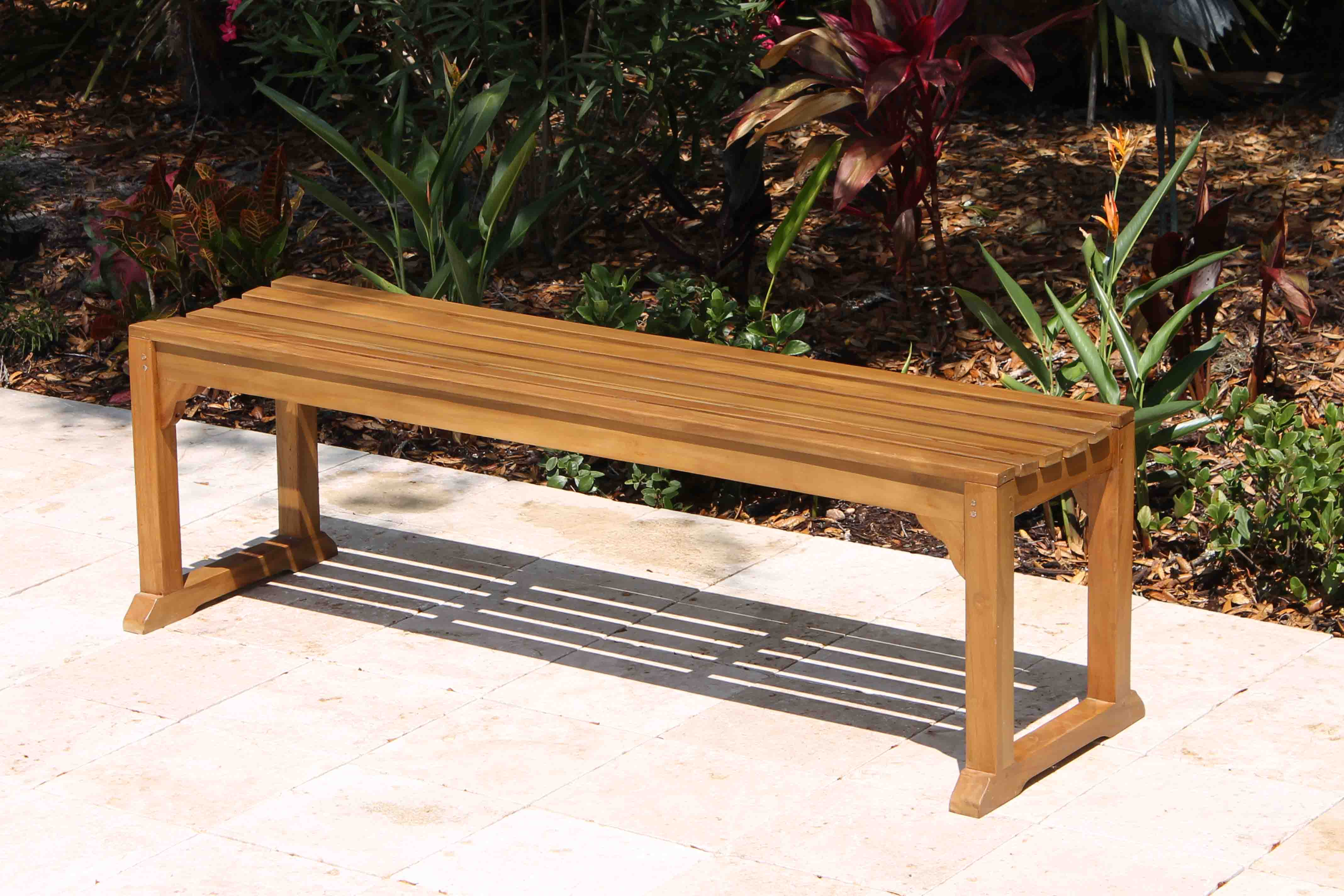 60in java backless bench 1 - Teak Bench