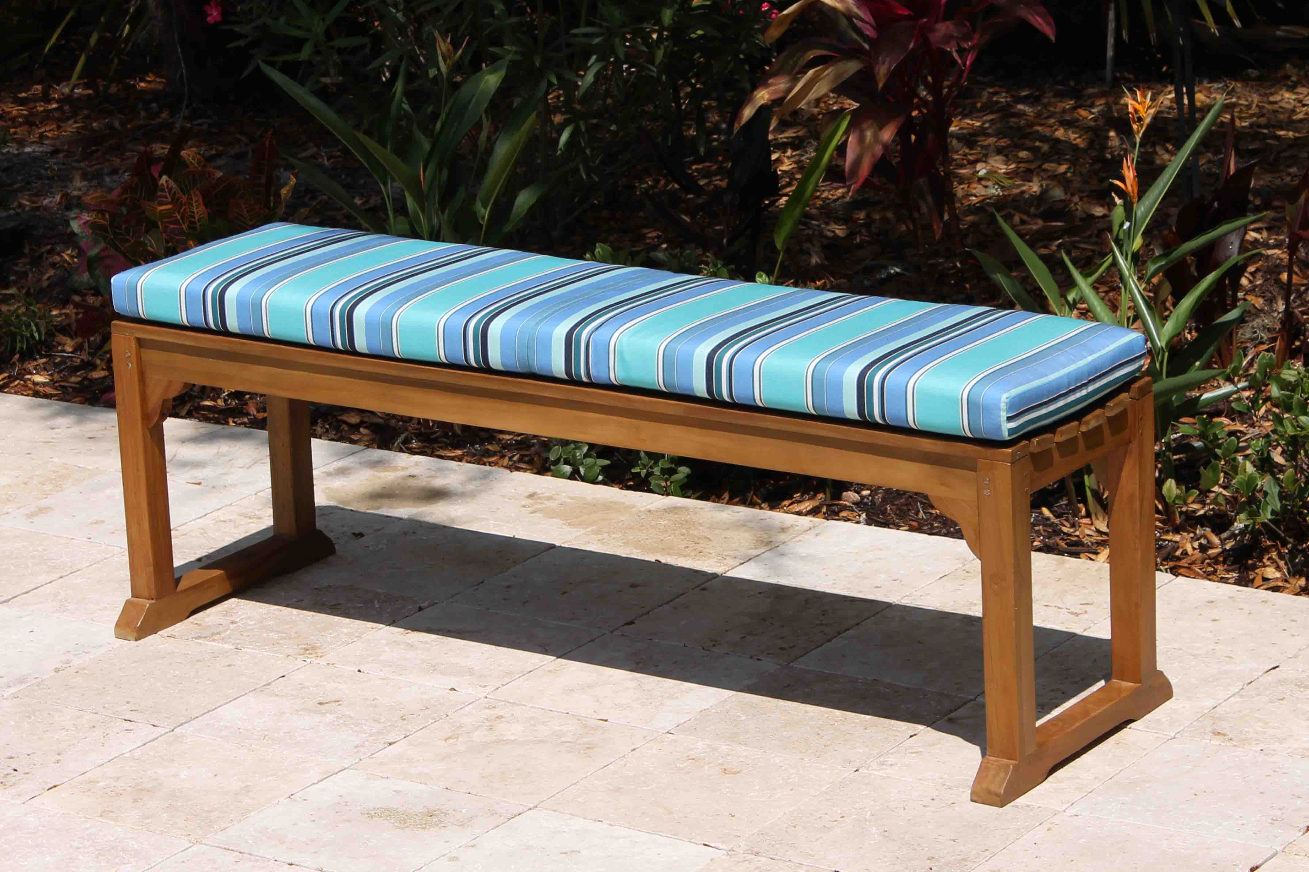 Sale Sunbrella 60in Backless Bench Cushion Oceanic Teak Furniture