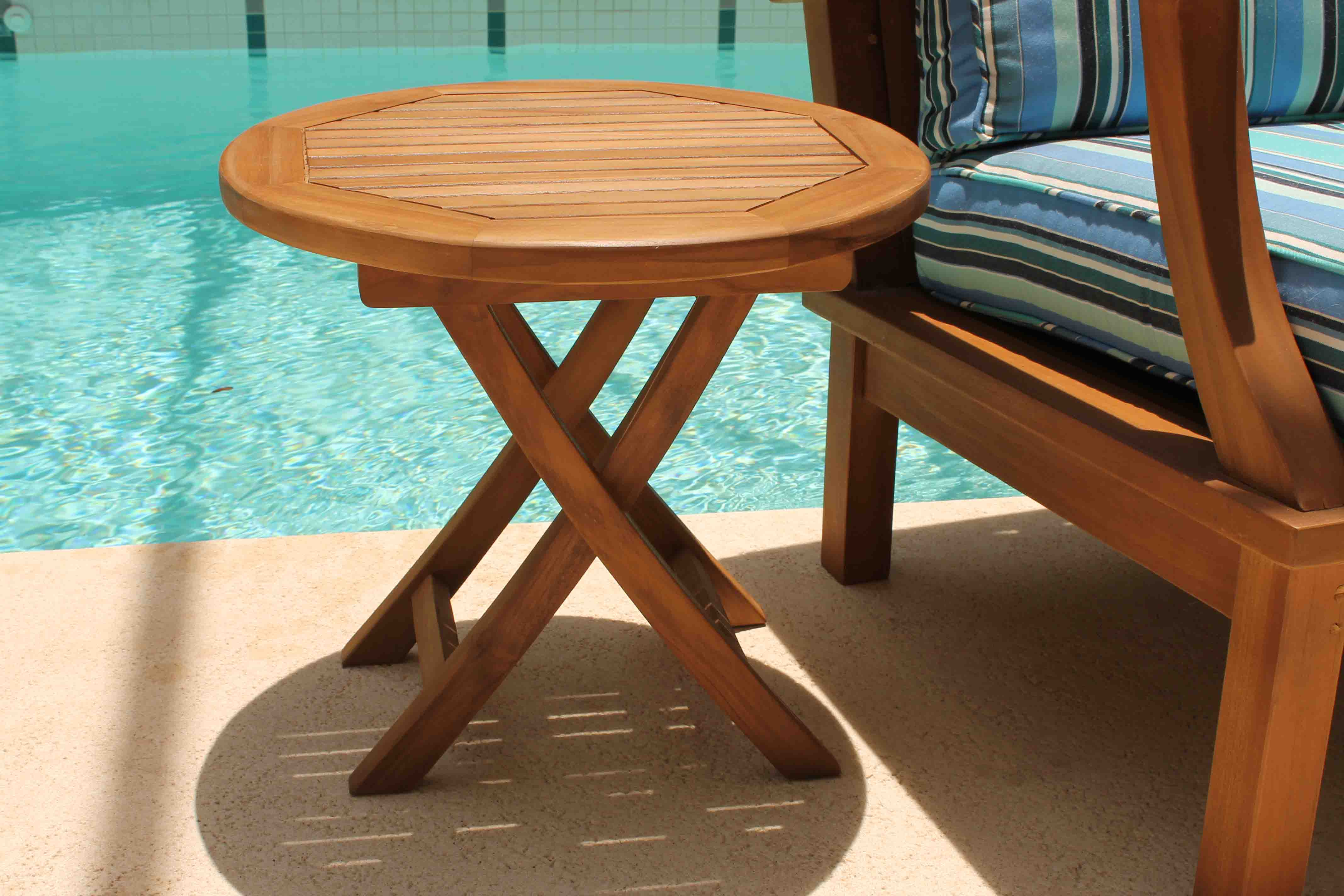 Sale Teak Round Side Table 20in Oceanic Teak Furniture