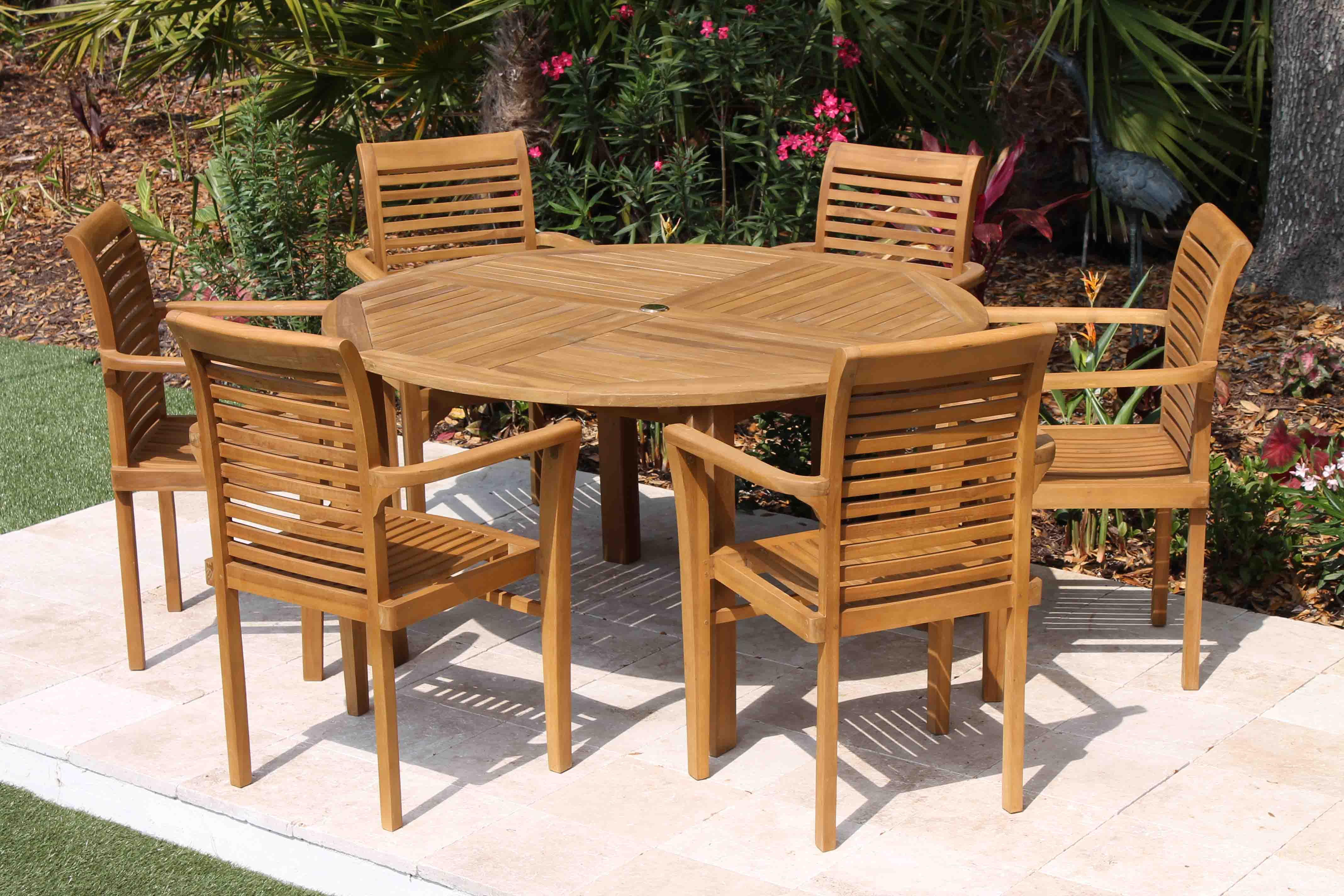 Teak Chair sale 56in round table & 6 atlantic chair teak set | oceanic teak