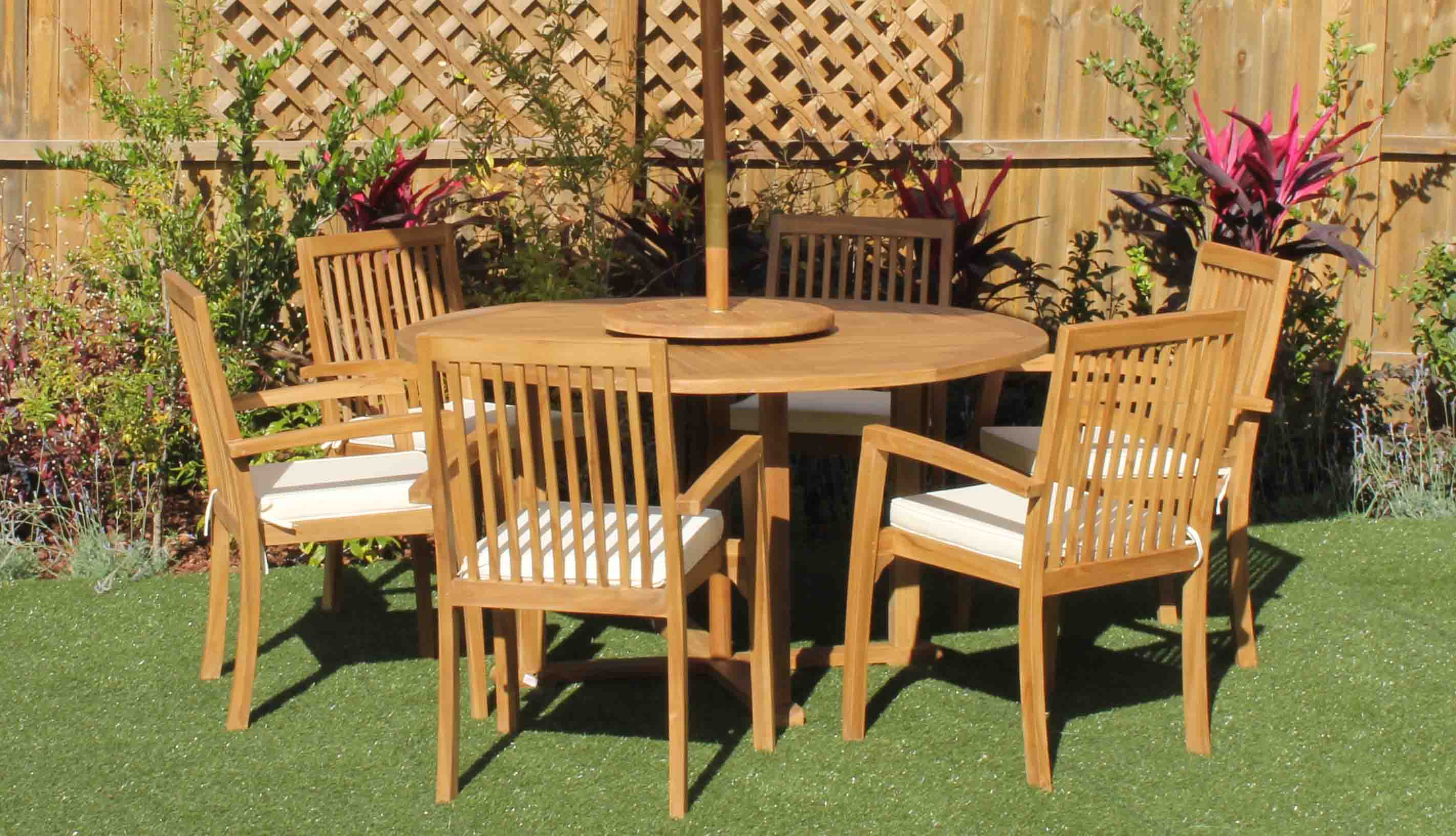 SALE 56in Round Table & 6 Hampton Armchairs Teak Set