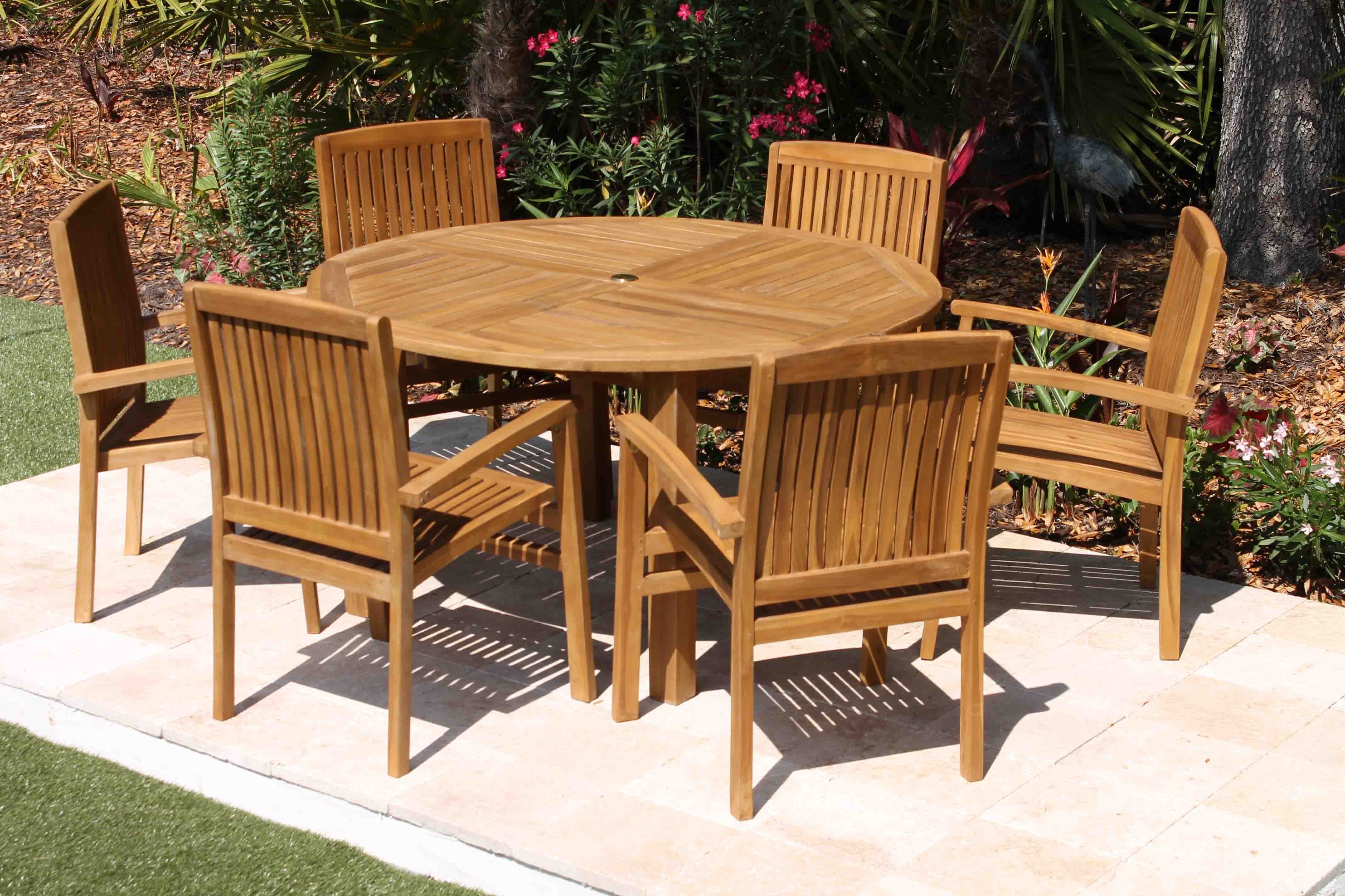 Teak Chair sale 56in round table & 6 pacific chair teak set | oceanic teak