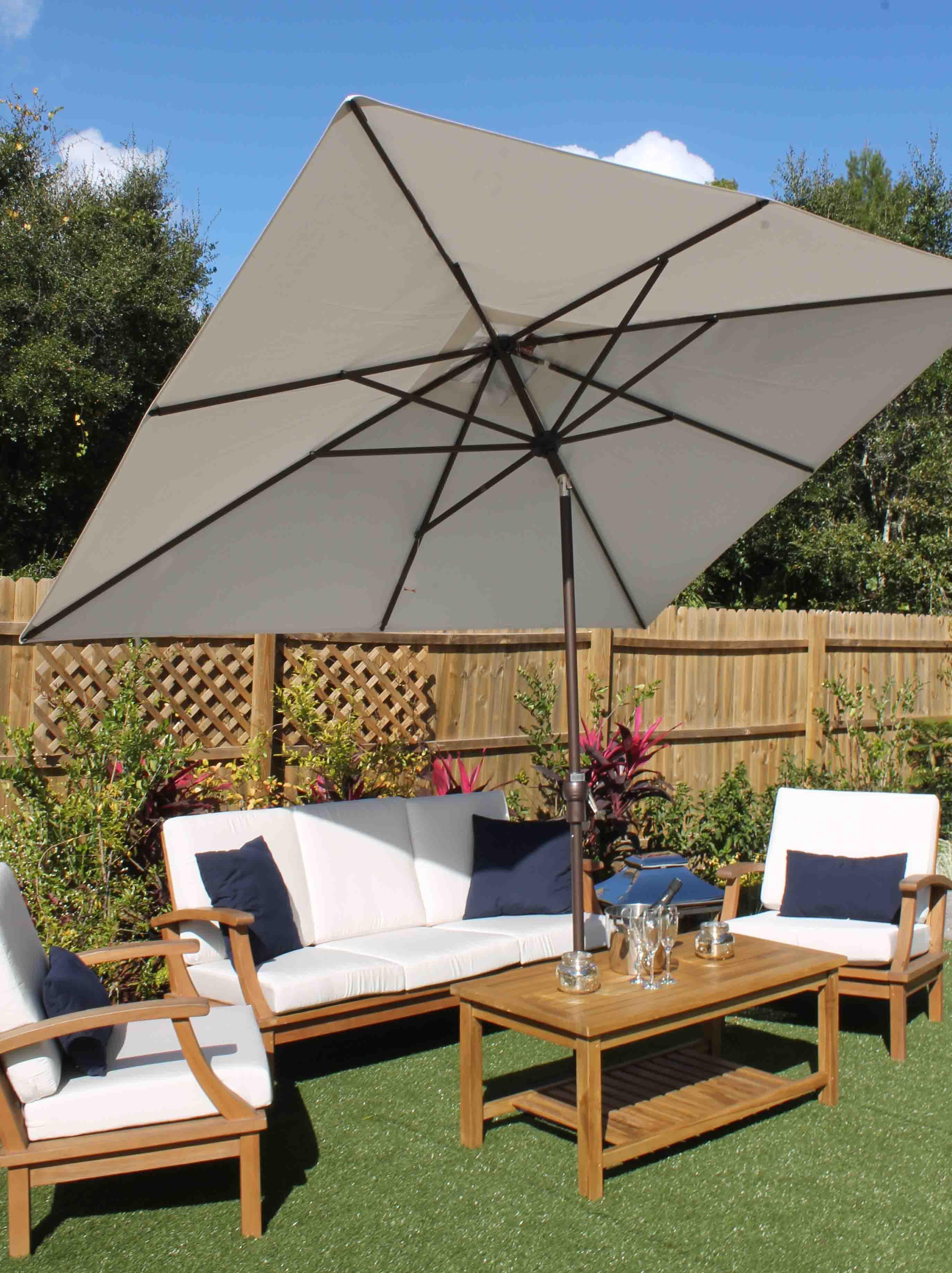 Charmant 8×11 Rectangular Umbrella Sunbrella Canvas Tilted.