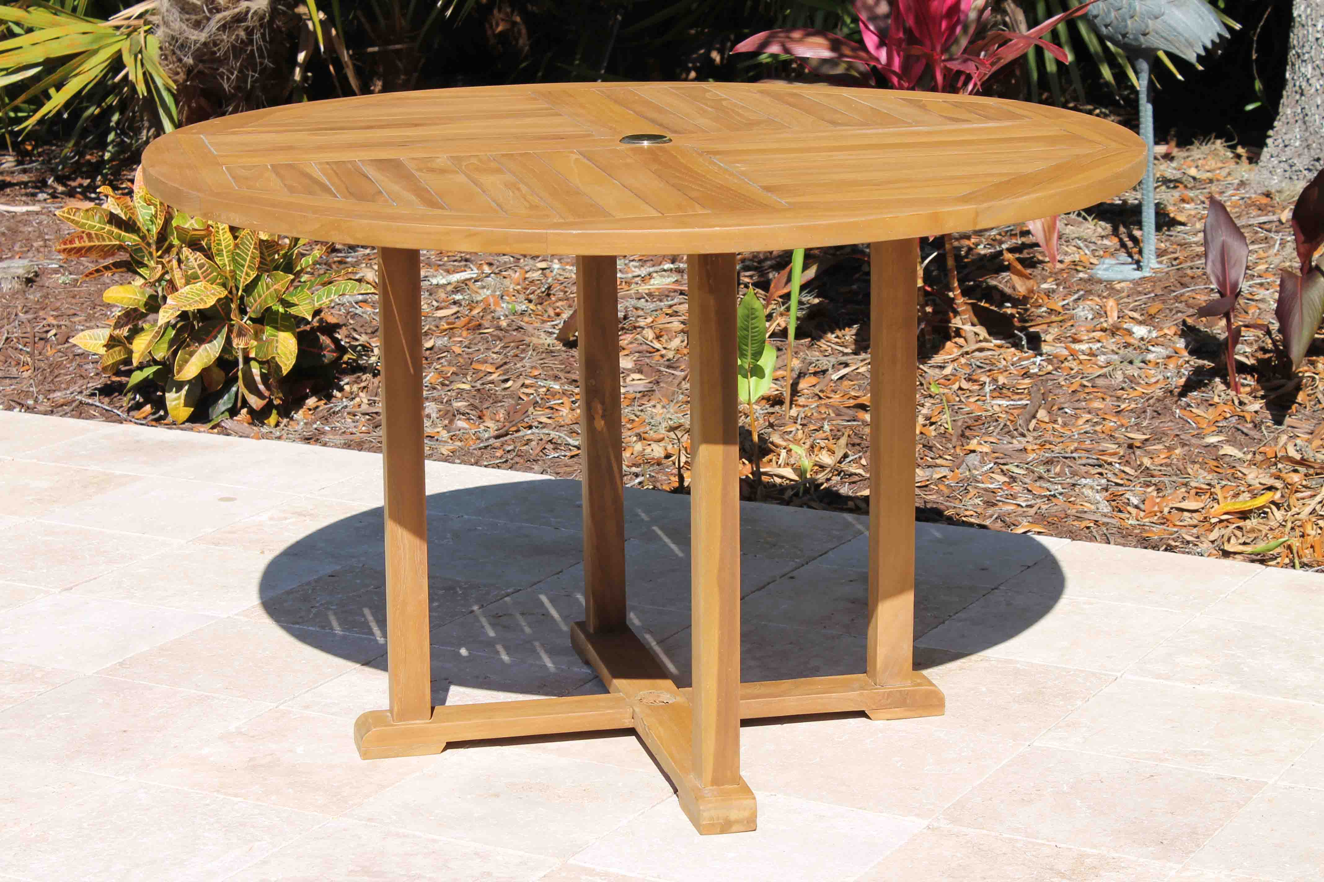 SALE 48in Round Table & 4 Pacific Chair Teak Set  Oceanic