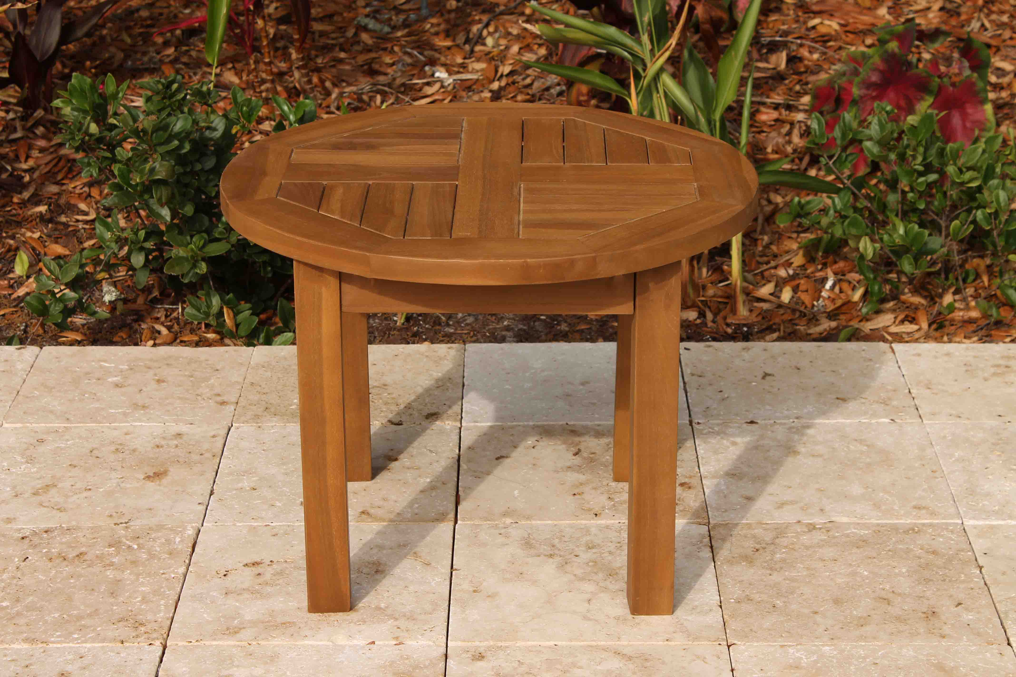 Sale teak round side table 24in oceanic teak furniture 24in round coffee table 1 geotapseo Choice Image