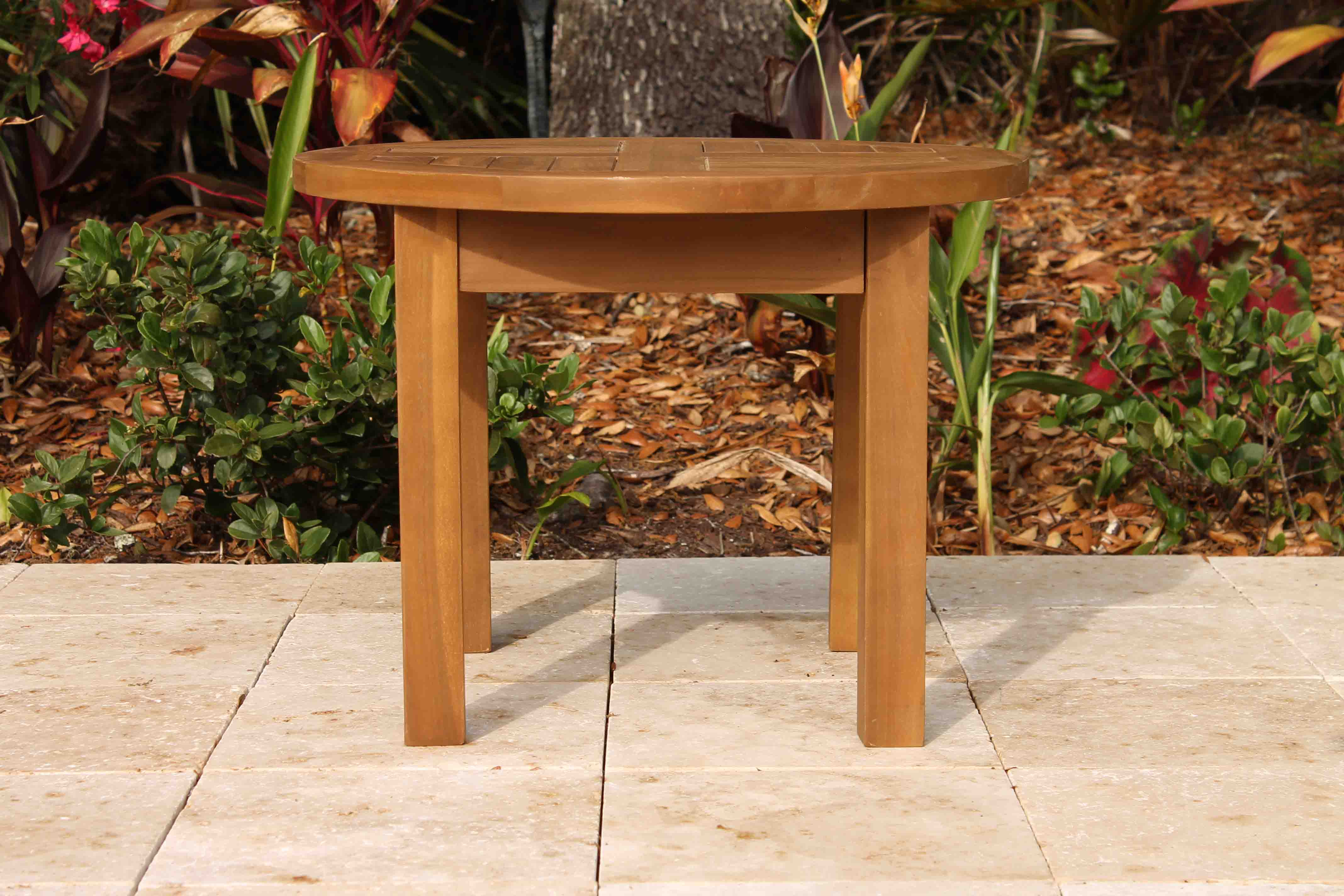 Sale teak round side table 24in oceanic teak furniture 24in round coffee table 2 geotapseo Choice Image