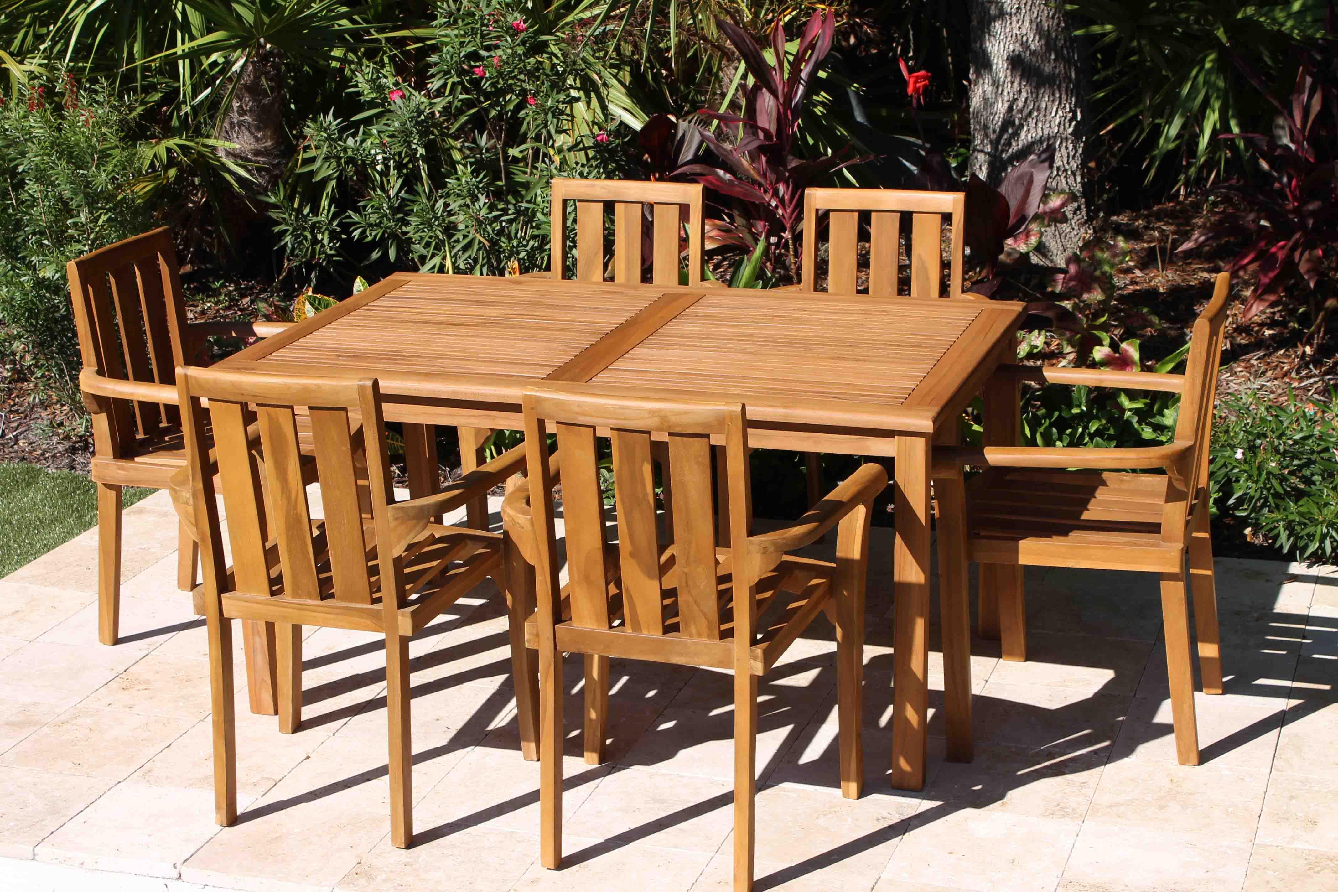 sale 60in rectangular table 6 bay armchair teak set oceanic teak