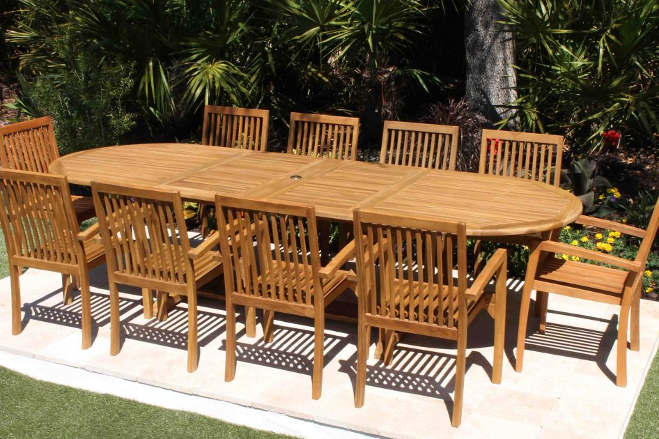 ... SALE 120in Oval Table U0026 10 Hampton Armchairs Teak Set