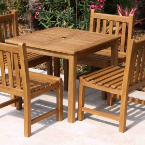 SALE 36in Square Table & 4 Java Chair Teak Set