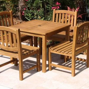 SALE 36in Square Table & 4 Java Oval Chair Teak Set
