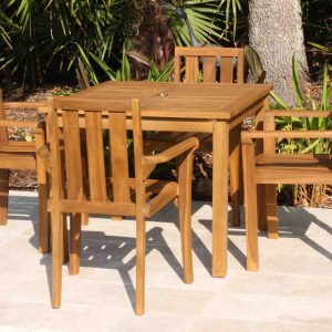 SALE 36in Square Table & 4 Bay Chair Teak Set