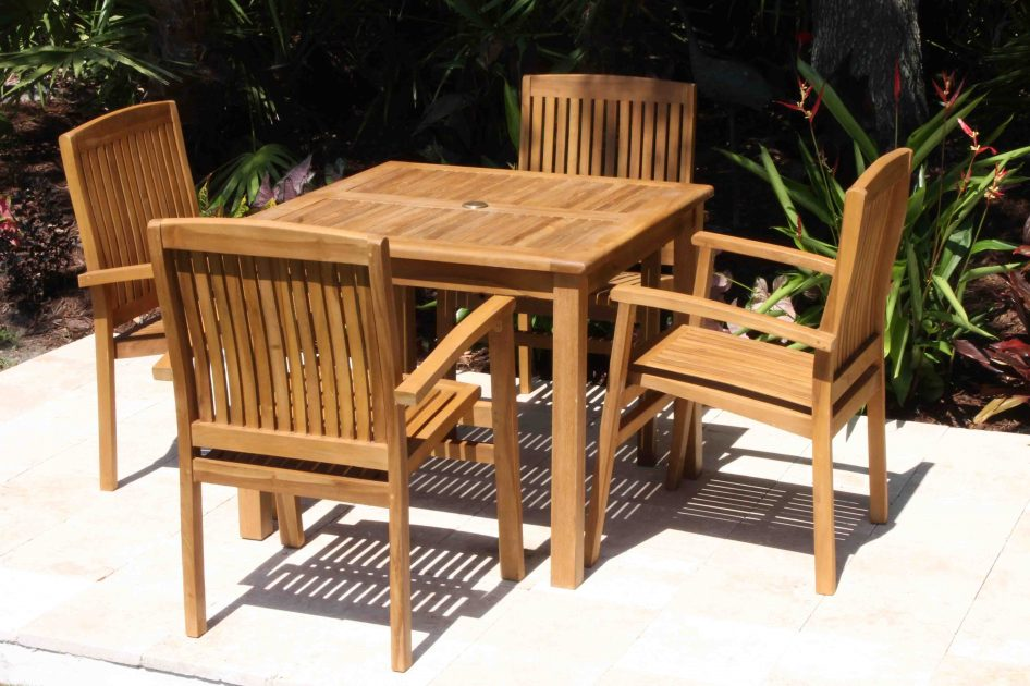SALE 36in Square Table & 4 Pacific Chair Teak Set