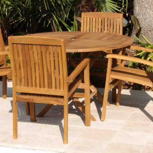 SALE 48in Easy Fold Table & 4 Pacific Chair Teak Set