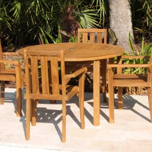 SALE 48in Round Table & 4 Bay Chair Teak Set