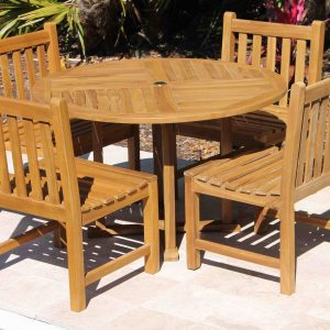 SALE 48in Round Table & 4 Java Chair Teak Set