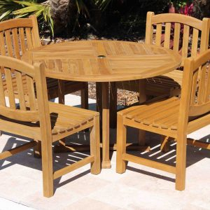 SALE 48in Round Table & 4 Java Oval Chair Teak Set
