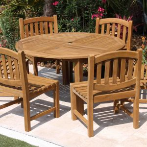 SALE 56in Round Table & 6 Java Oval Chairs Teak Set
