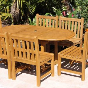 SALE 67in Oval Table & 6 Java Chairs Teak Set