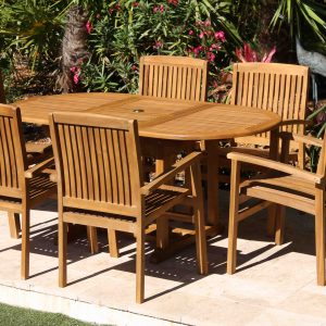 SALE 67in Oval Table & 6 Pacific Chairs Teak Set