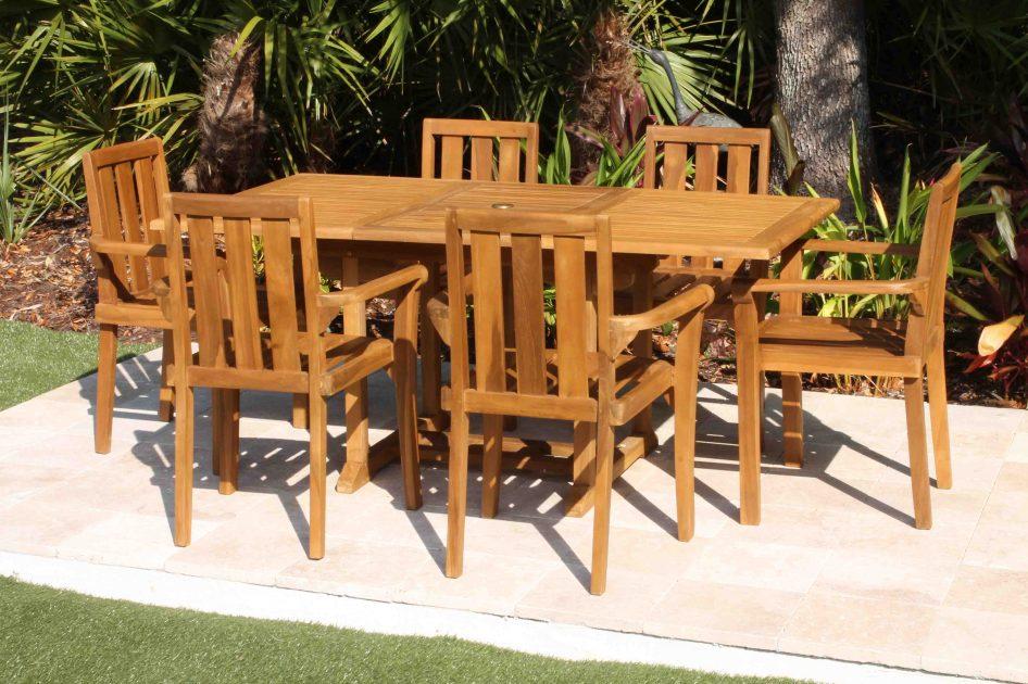 ... CLEARANCE 67in Rectangular Table U0026 6 Bay Armchair Teak Set