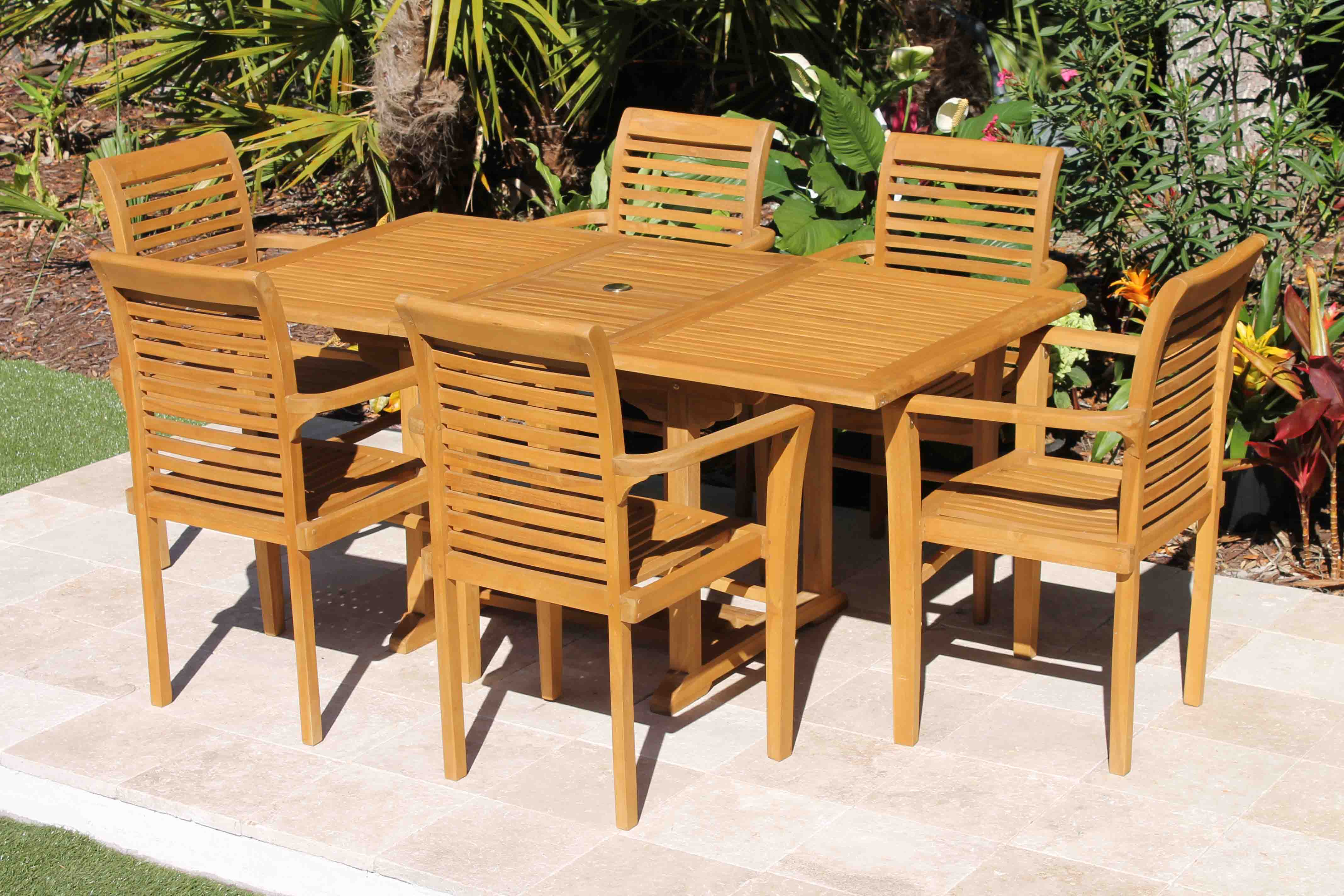 Attirant SALE 67in Rectangular Table U0026 6 Atlantic Armchairs Teak ...