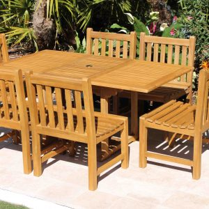 SALE 67in Rectangular Table & 6 Java Chairs Teak Set