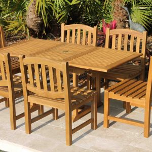 SALE 67in Rectangular Table & 6 Java Oval Chairs Teak Set