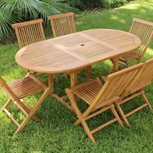 SALE 67in Oval Table & 6 Neptune Chairs Teak Set