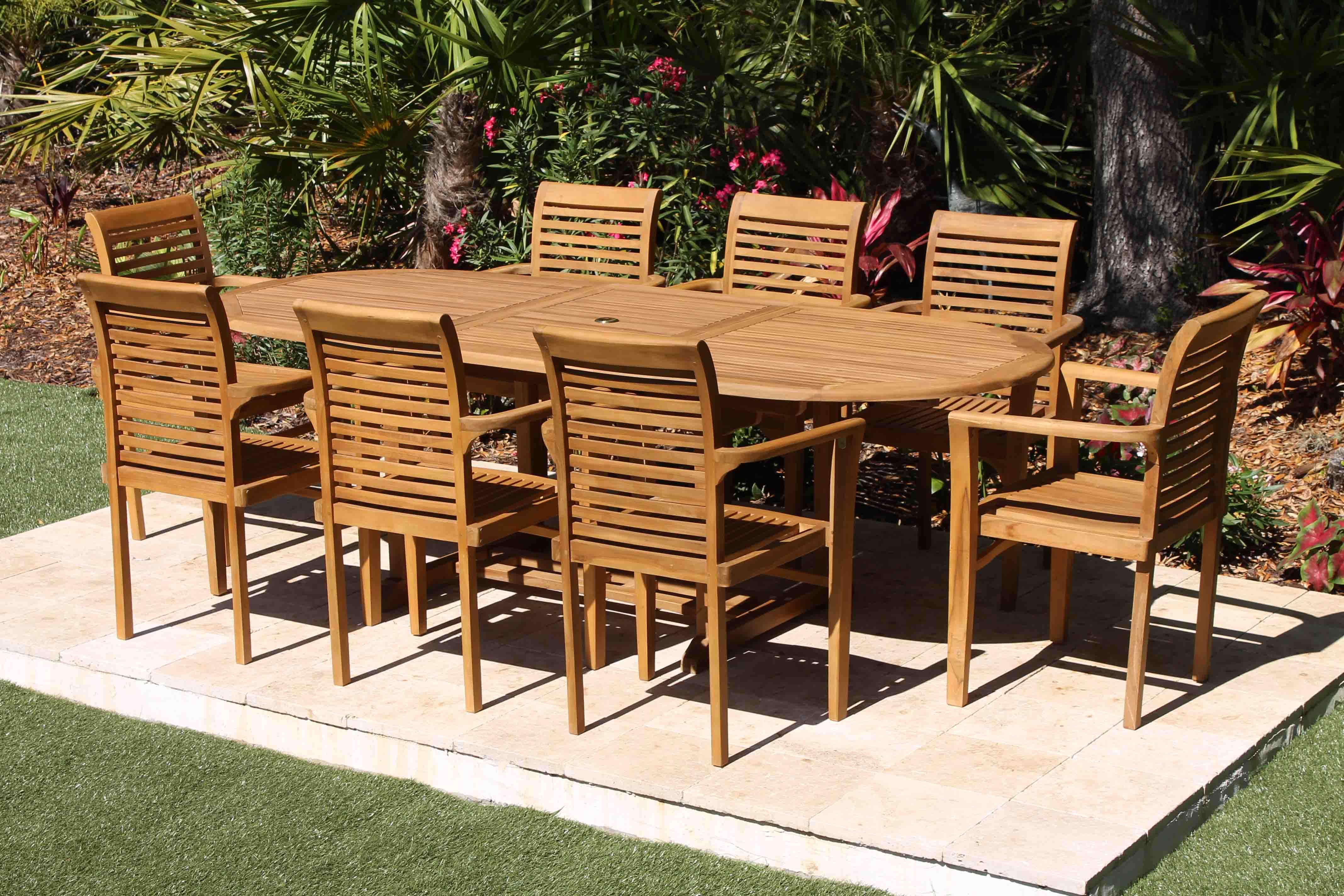95in Oval Table Amp 8 Atlantic Armchairs Teak Set Oceanic