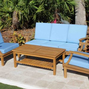 Clearance SALE - Teak Deep Seat 5 Seat Set & Full Sunbrella Cushions