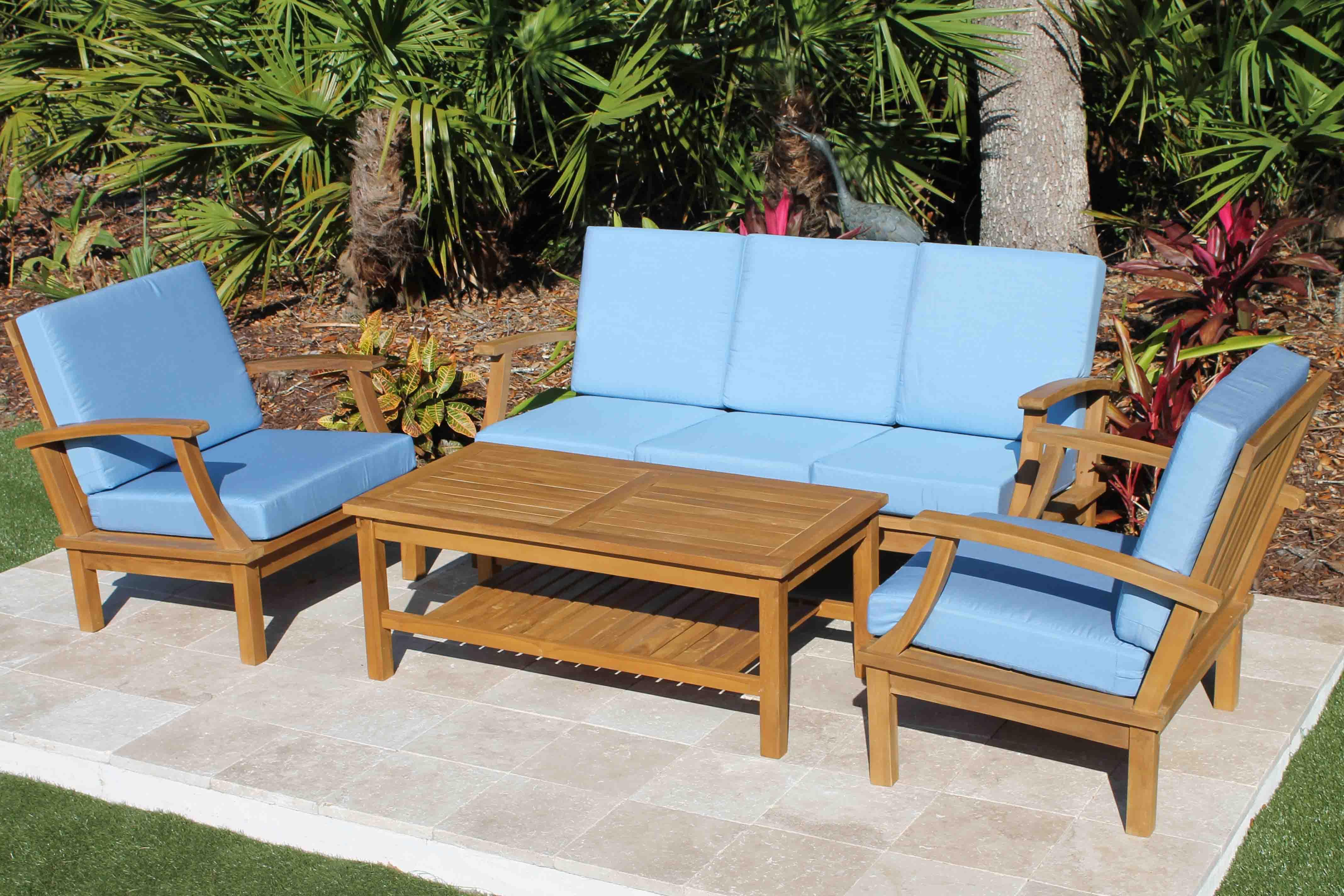 Clearance Sale Teak Deep Seat 5 Seat Set Full Sunbrella Cushions