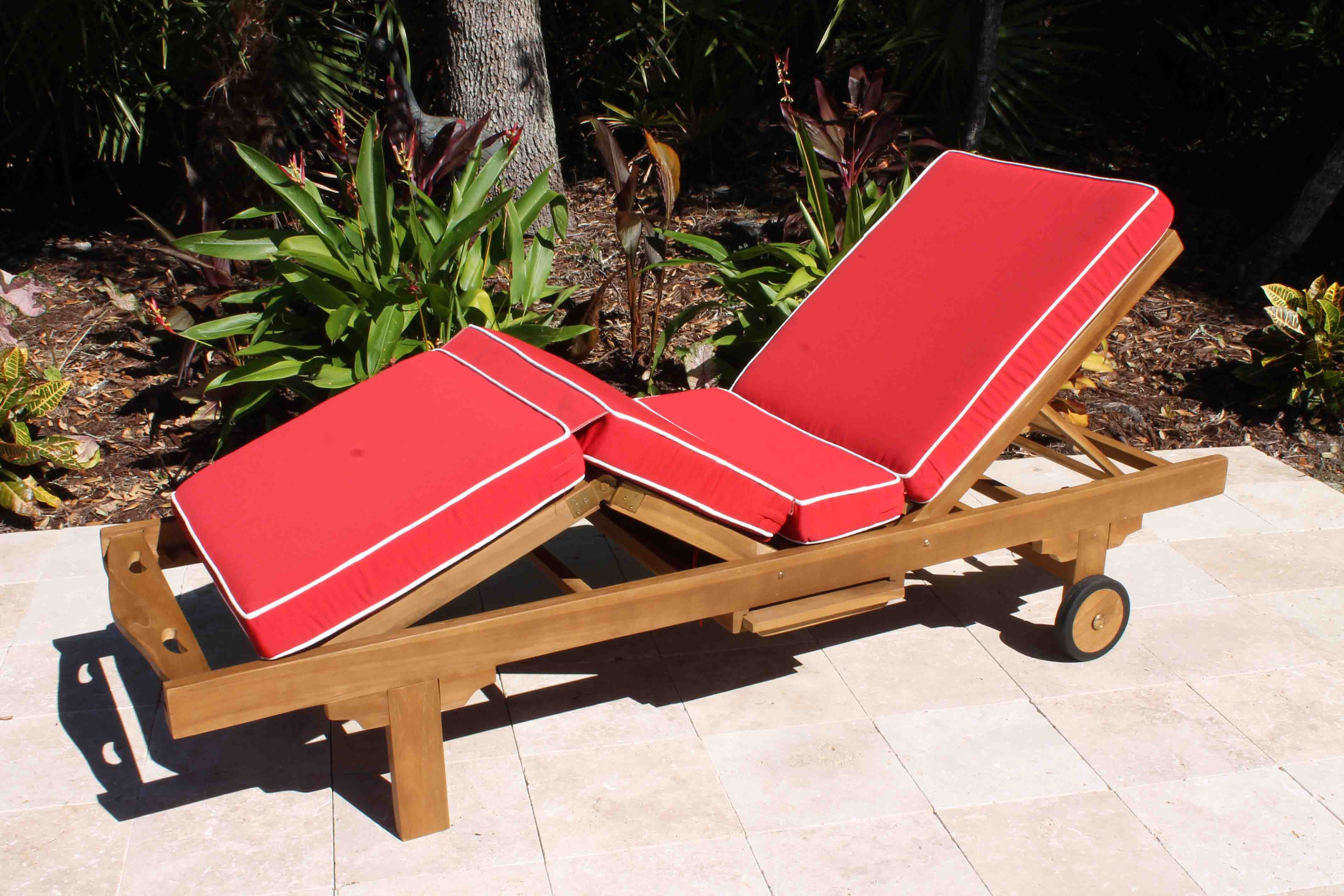 Sunbrella Fabric Deluxe Lounger Cushion Oceanic Teak Furniture