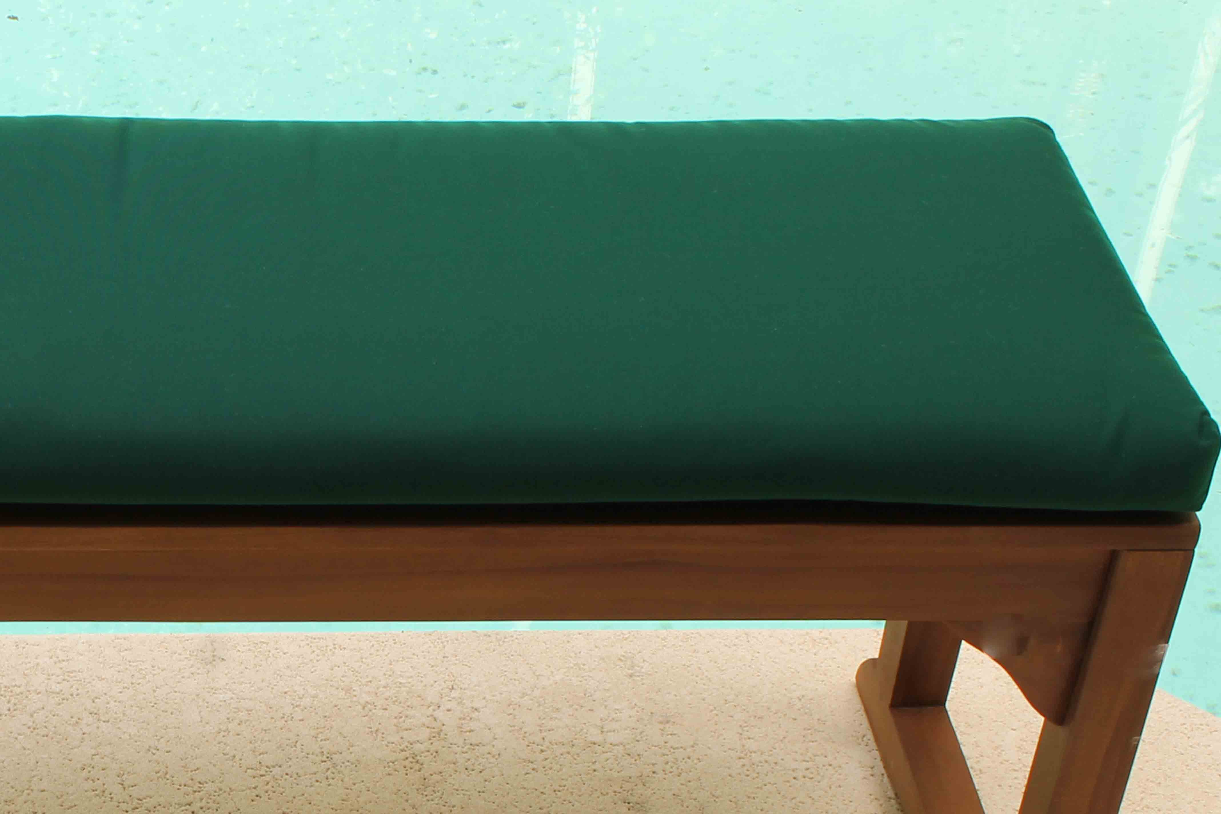 Clearance SALE Java 72in Backless Teak Bench Plus FREE Forest Green Sunbrella Cushion