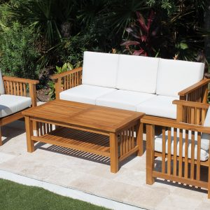 Southampton Deep Seat Teak Set - 5 Seat including Full Sunbrella Cushions