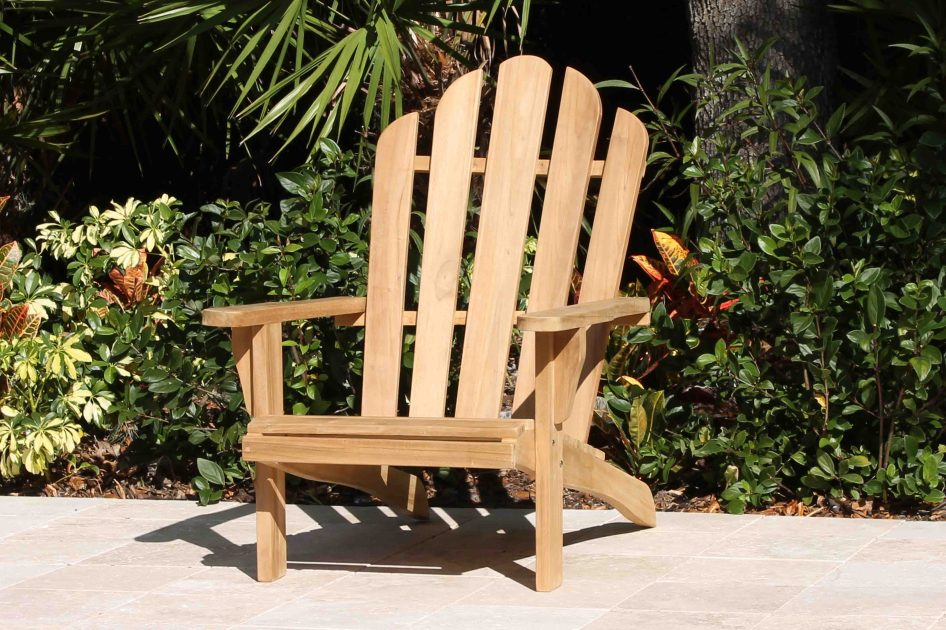 Set Of 2 Teak Adirondack Chairs Amp 18in Side Table