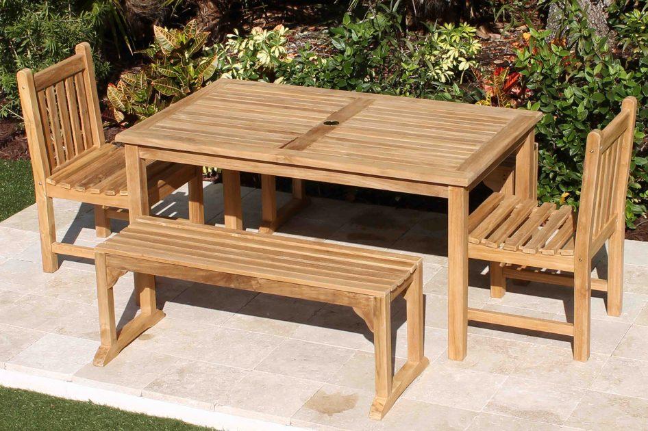 60in Rectangular Table Java Bench Teak Set Oceanic Teak Furniture
