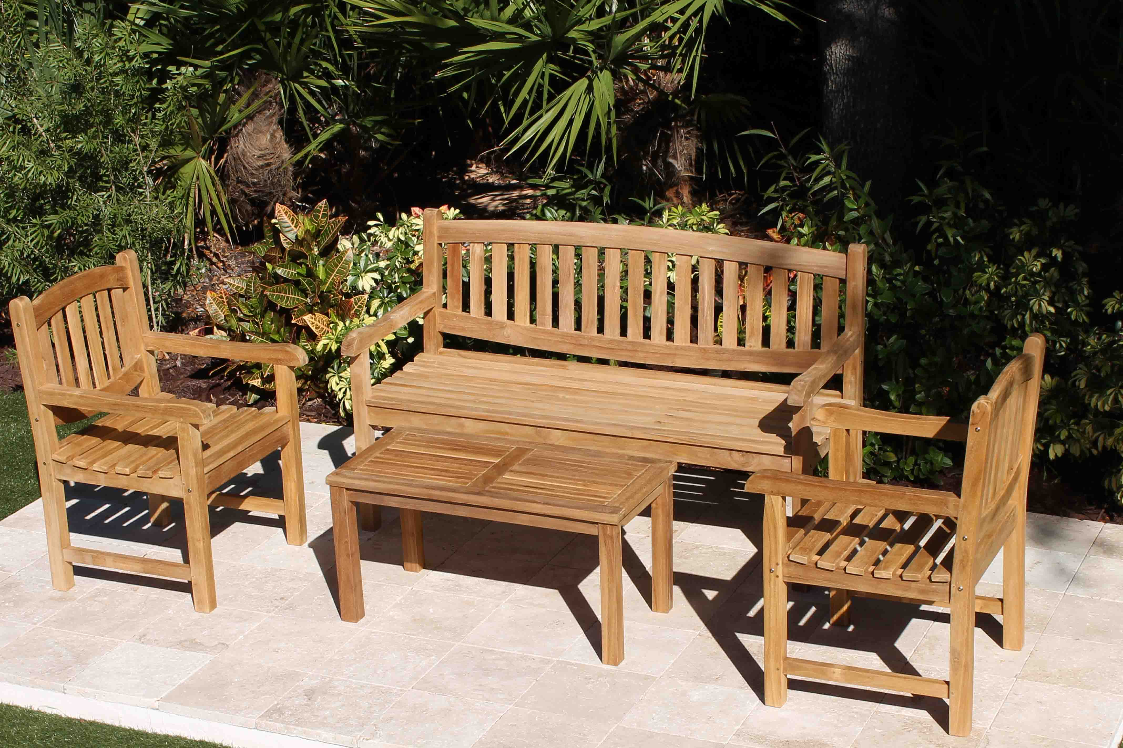 Java Oval Bench Teak Set Oceanic Teak Furniture