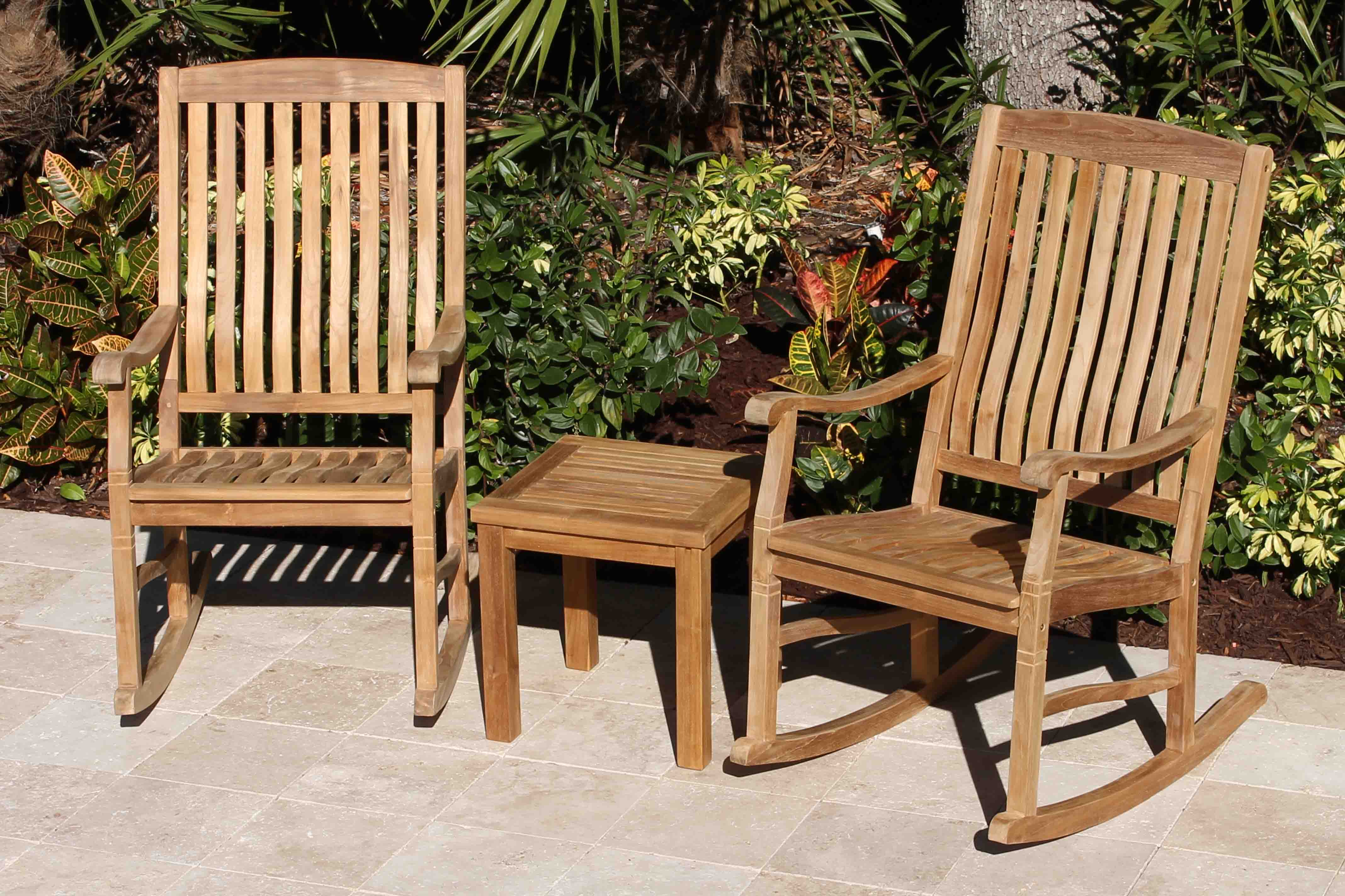 Set Of 2 Teak Rocking Chairs 18in Side Table Oceanic Teak Furniture