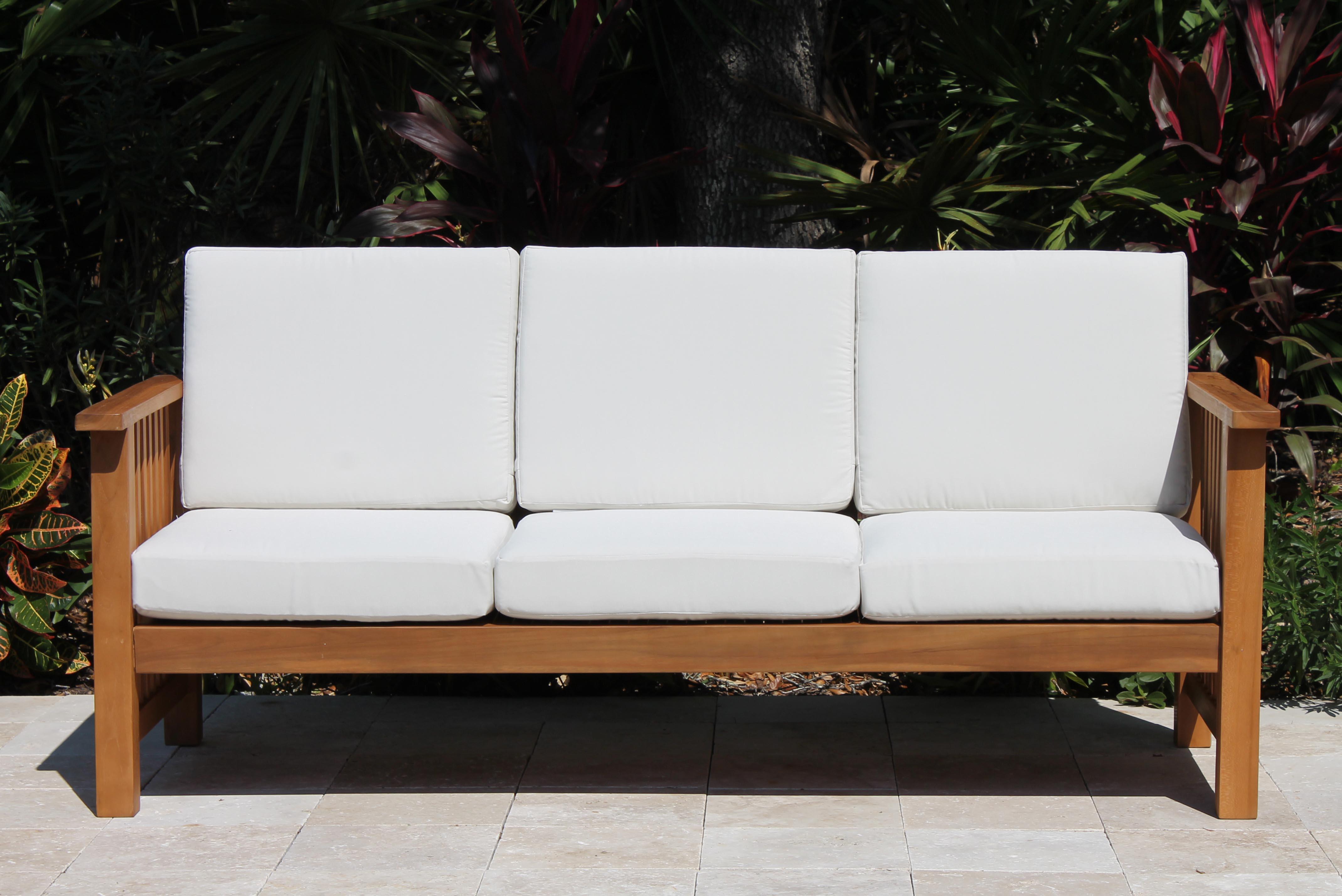 Southampton Deep Seat Teak Sofa Including Full Sunbrella Cushions